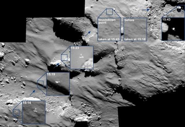 Philae's bounce across the surface of its comet, as captured by the Rosetta mothership. Image via ESA/Rosetta/MPS for OSIRIS Team MPS/UPD/LAM/IAA/SSO/INTA/UPM/DASP/IDA