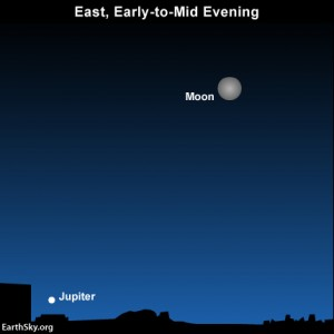 Look eastward before going to bed to spot Jupiter beneath the moon on Monday, January 5. THe moon will be closer to Jupiter on Tuesday, January 6.