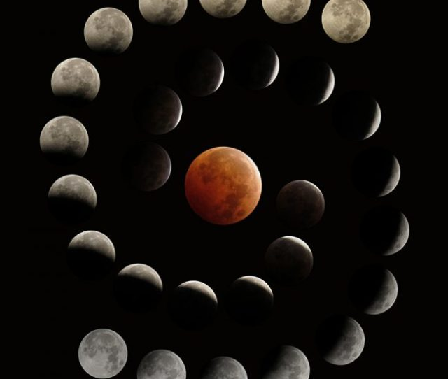 Spiral Of Moons With Orange Red Eclipsed Moon In Center