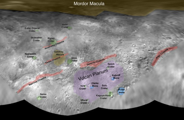 View larger. | Preliminary map of Charon. Images via NASA / JHU-APL / SwRI. New Horizons spacecraft.