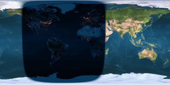 Day and night sides of planet Earth at the instant of the September 2015 full moon (2015 September 28 at 2:51 Universal Time). You have to be on the nighttime side of Earth to see the moon at the instant that it turns full, at which time it'll be totally eclipsed by the Earth's dark shadow.