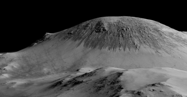 Here are more recurring slope lineae, in this case some 100 meters long. Recently, planetary scientists detected hydrated salts on these slopes at Horowitz Crater, corroborating their original hypothesis that the streaks are formed by liquid water. Image via NASA / JPL / Univ. of Arizona.