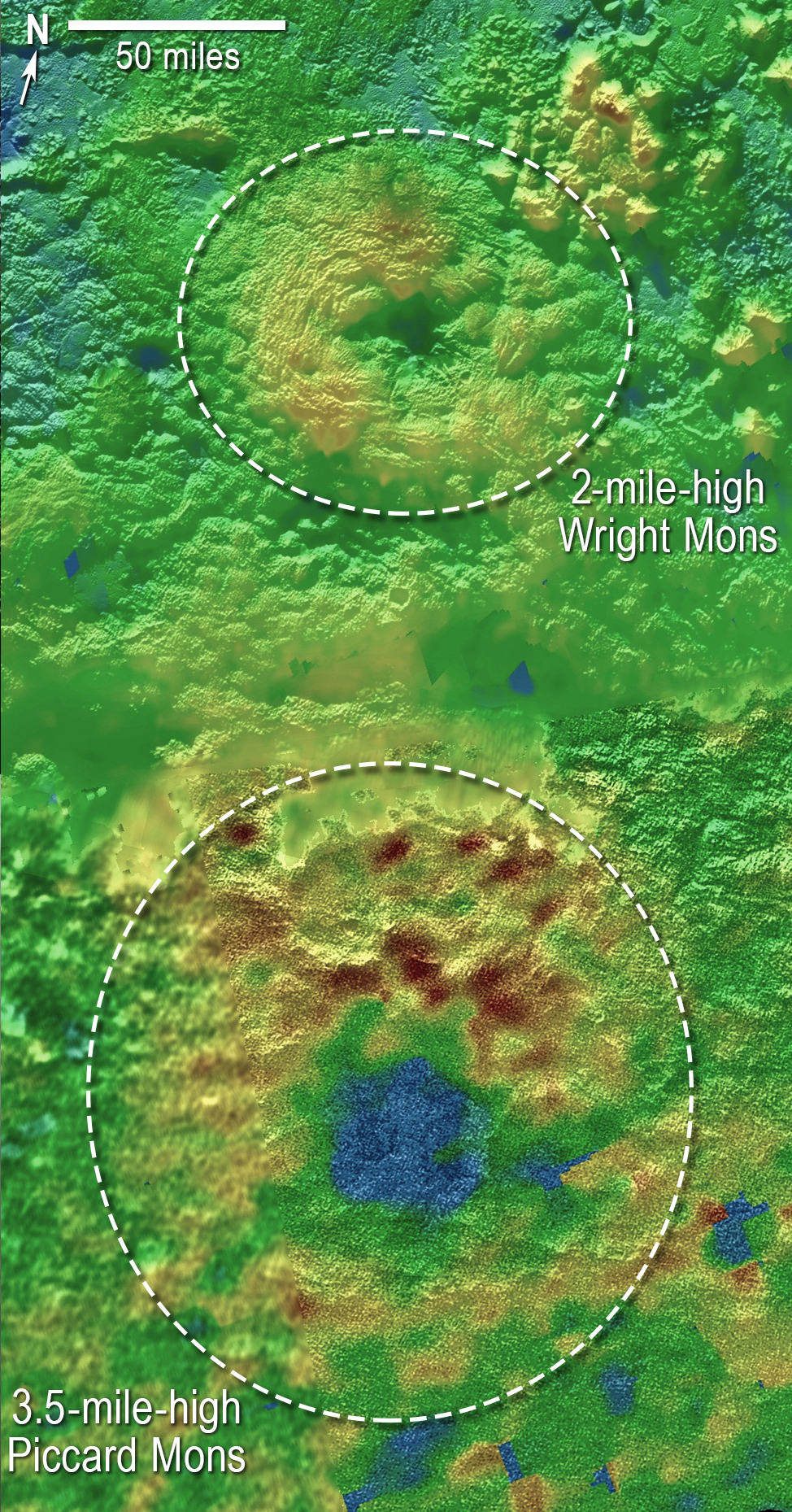 Using New Horizons images of Pluto's surface to make 3-D topographic maps, scientists discovered that two of Pluto's mountains, informally named Wright Mons and Piccard Mons, could be ice volcanoes. The color depicts changes in elevation, blue indicating lower terrain and brown showing higher elevation. Green terrains are at intermediate heights. Image credit: NASA/JHUAPL/SwRI
