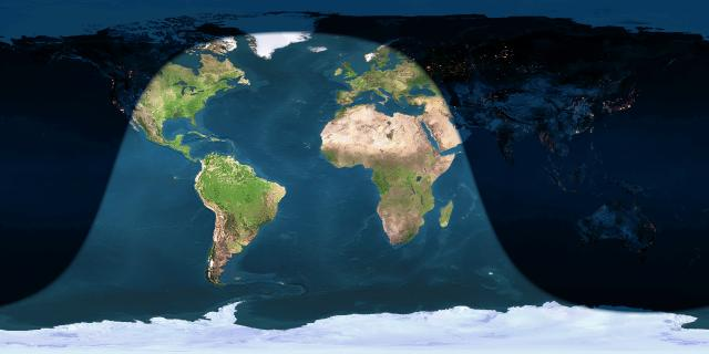 Day and night sides of Earth at the instant of the November 2016 full moon (2016 November 14 at 13:52 UTC) via EarthView. At this time, it'll be sunrise in western North America. In eastern North America, the moon will have set before the moon turns exactly full.