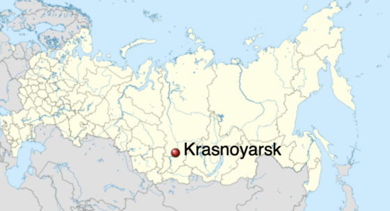 Map showing whereabouts of Krasnoyarsk, in south-central Russia.