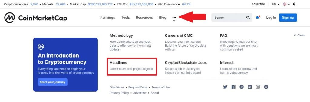Coinmarketcap Introduces a 'Headlines' Section for Crypto News Updates 13