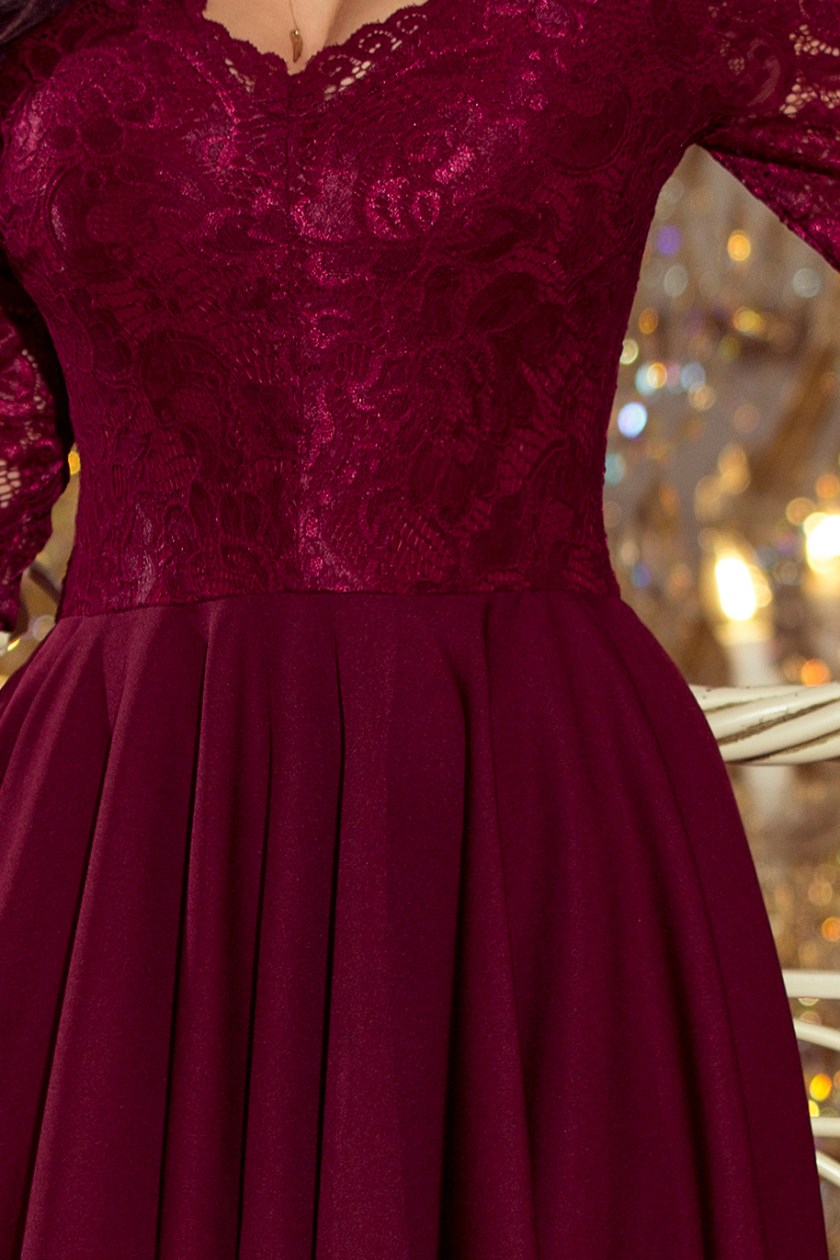 cocktail dress nude burgundy detail -