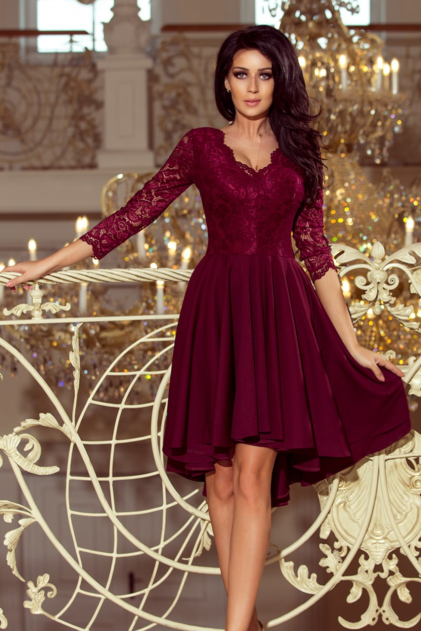 cocktail dress nude burgundy -