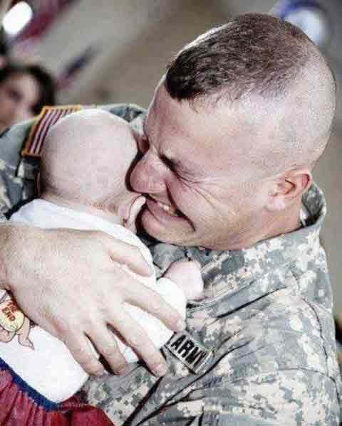 Soldier met first time his baby