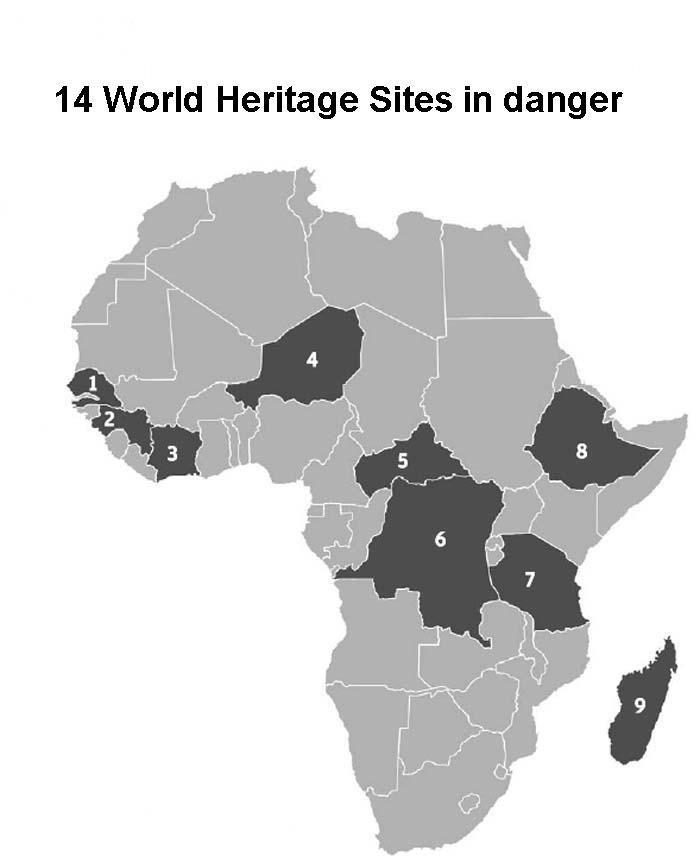 14 World Heritage Sites in danger.