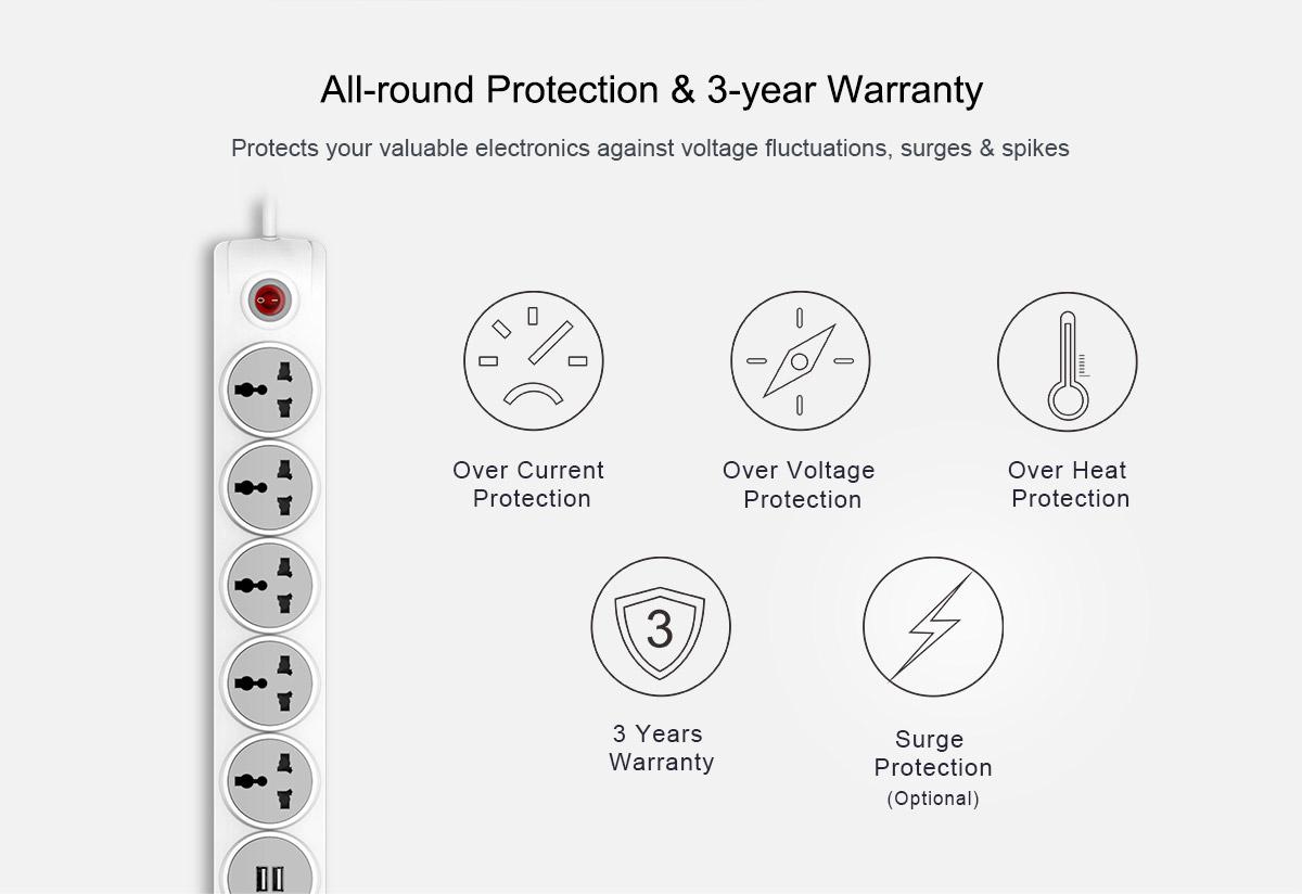 Huntkey Szn607 5 Sockets Surge Protector With 2 Usb Port
