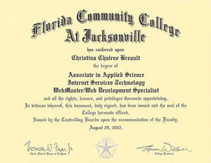 Christina Breault College Diploma