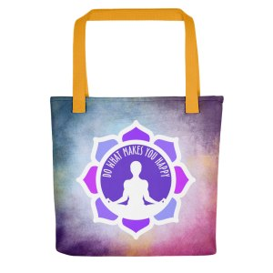 ILUMINA Tote Bag, Yellow Handle: Do What Makes You Happy