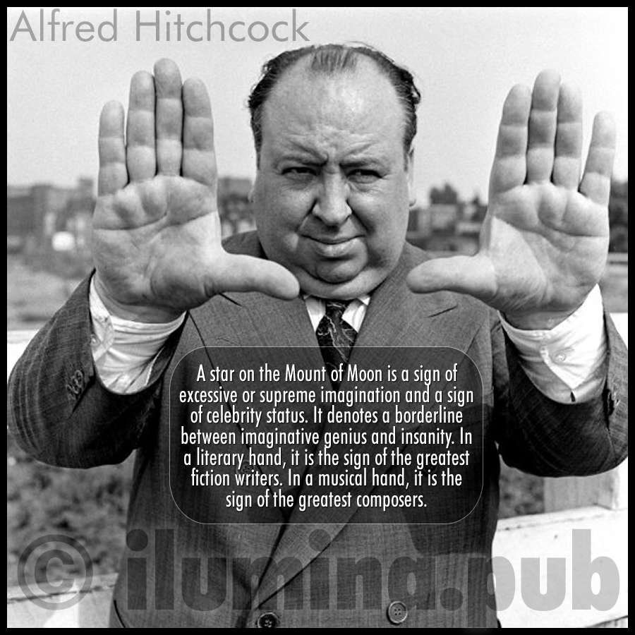Big Star on the hand of Alfred Hitchcock