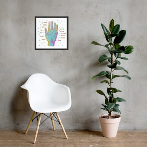 Palmistry Poster, Framed, Cosmic Hand, Light