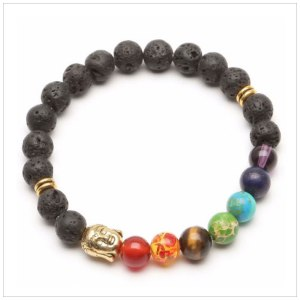 Chakra Bracelet in Natural Stones, Black Lava with Golden Buddha's Head Amulet