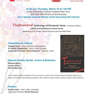 """Testament"" – Anthology of Romanian Verse – American Edition launch in New York, March 16th 2017"