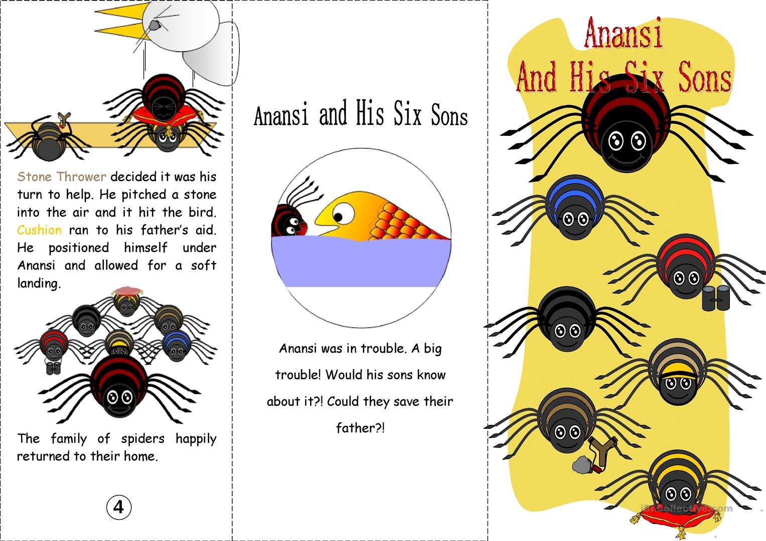 Anansi And His Six Sons Coloured Worksheet