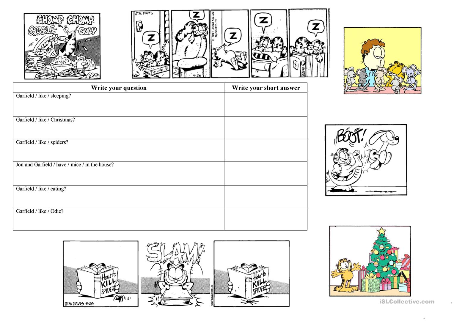 Garfield Present Simple Questions Worksheet
