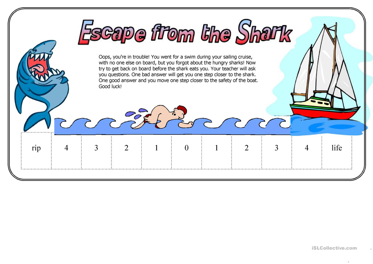 Escape From The Shark Fun Way To Test Students Worksheet