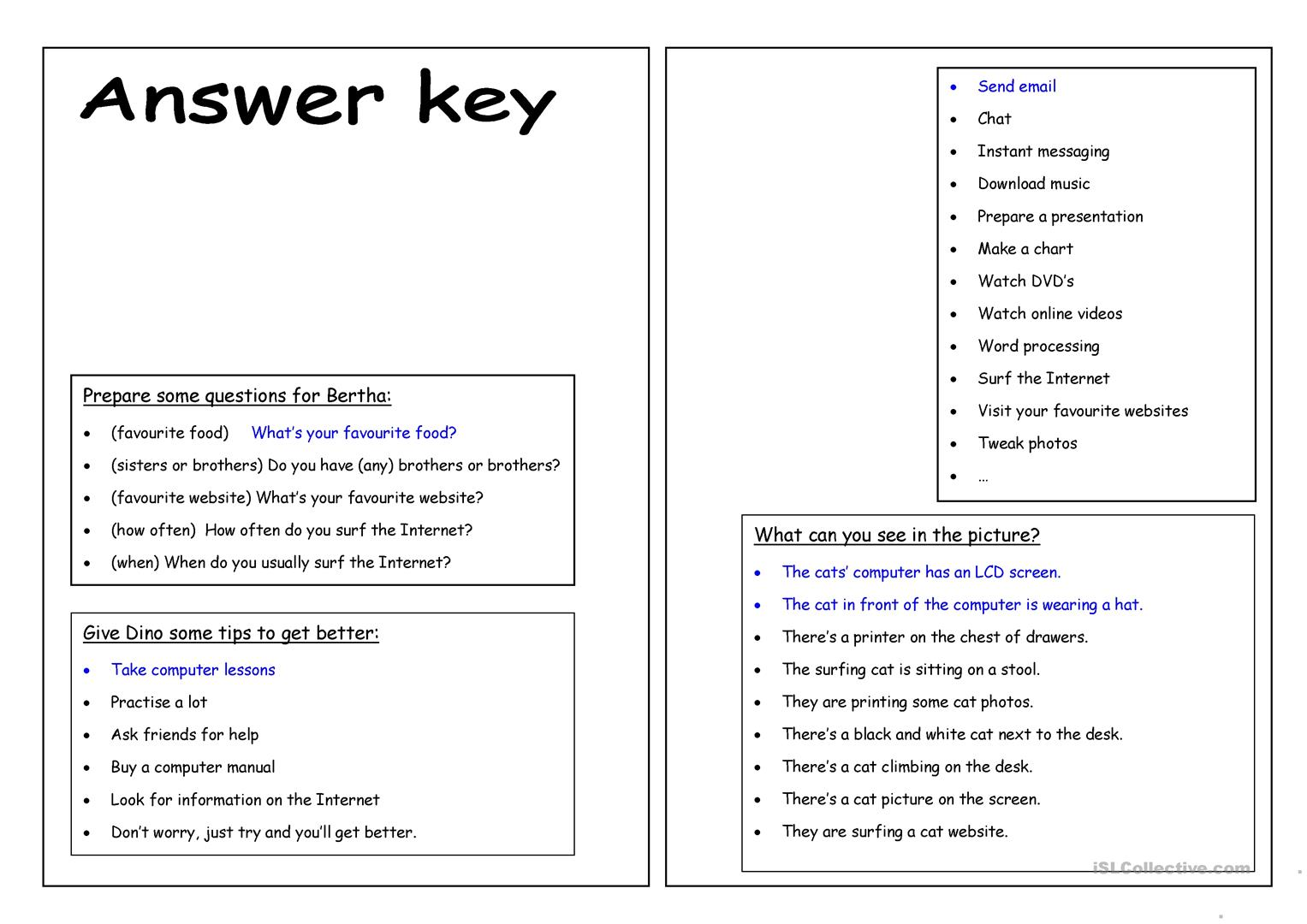 Four Skills Worksheet