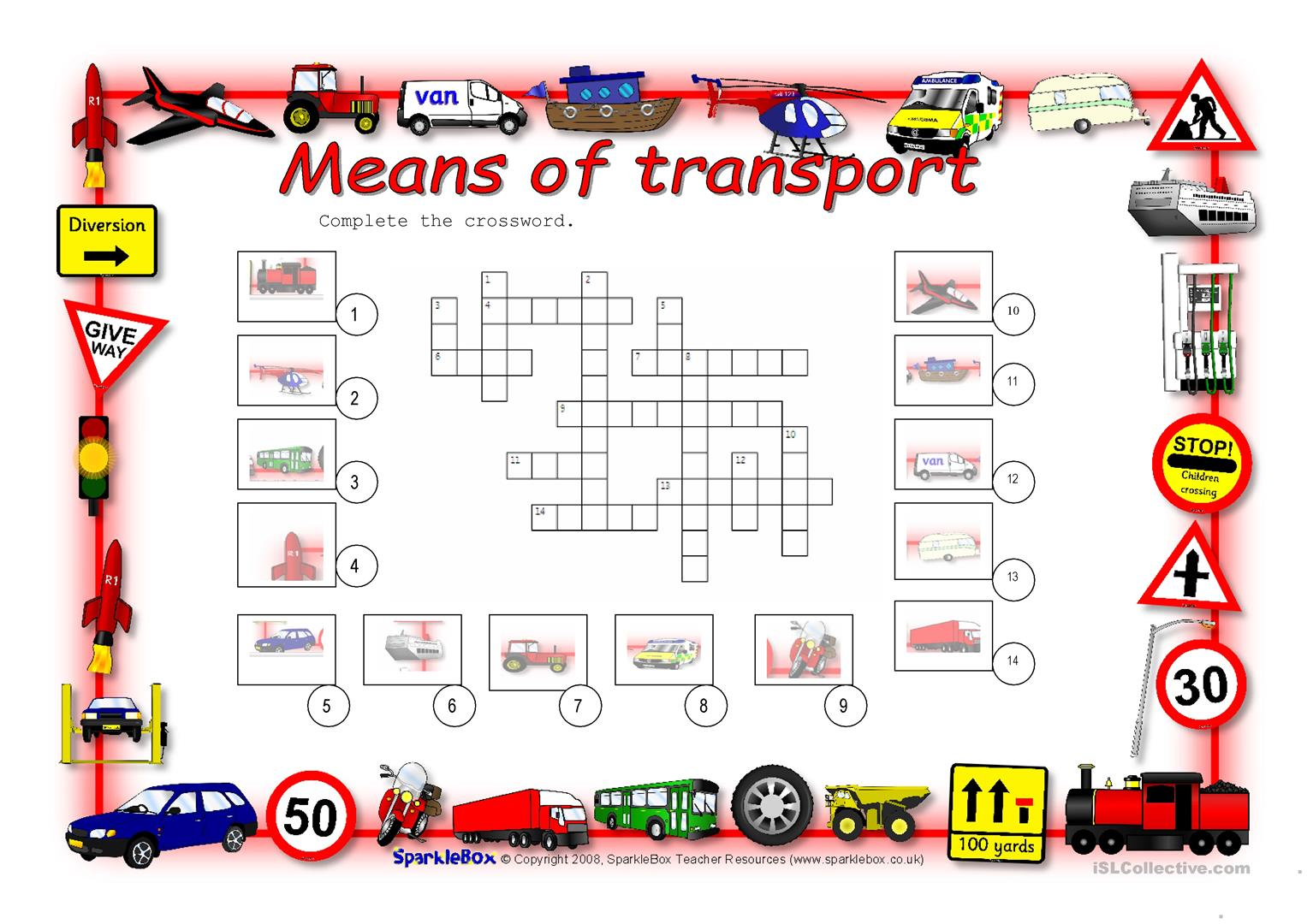 Means Of Transport Worksheet