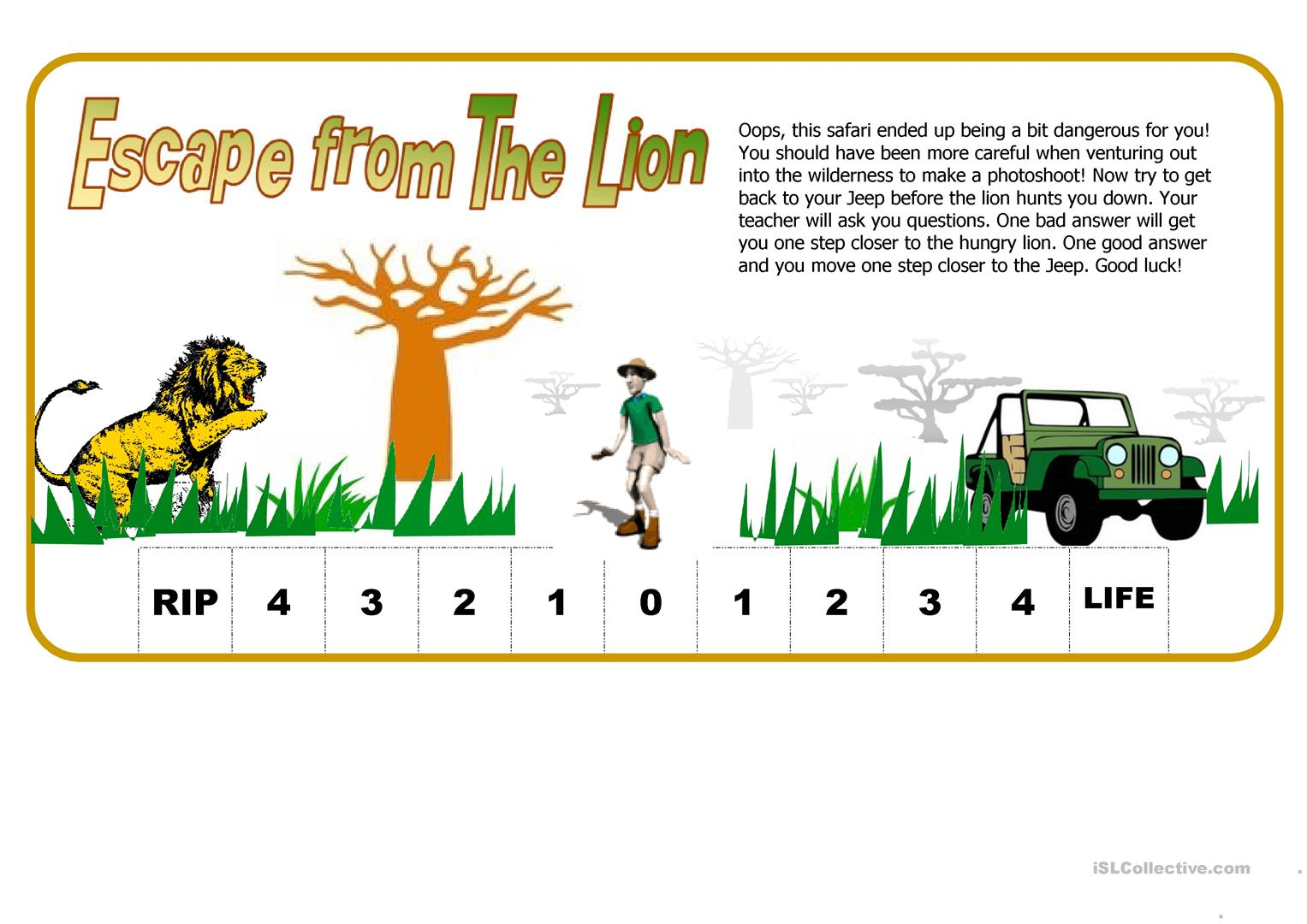 Escape From The Lion Fun Way To Test Students Worksheet