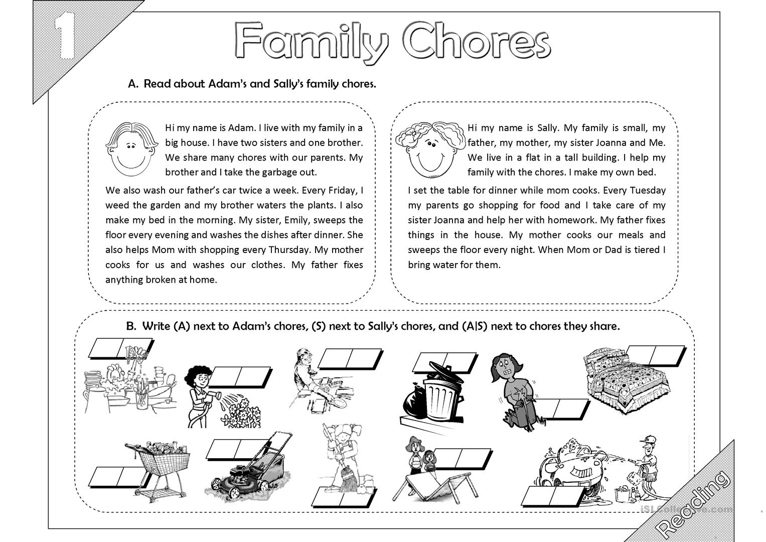 Family Chores Reading 2 Pages Worksheet