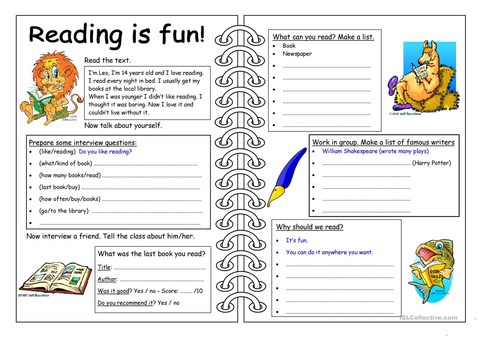 Reading Comprehension Worksheet For Special Needs