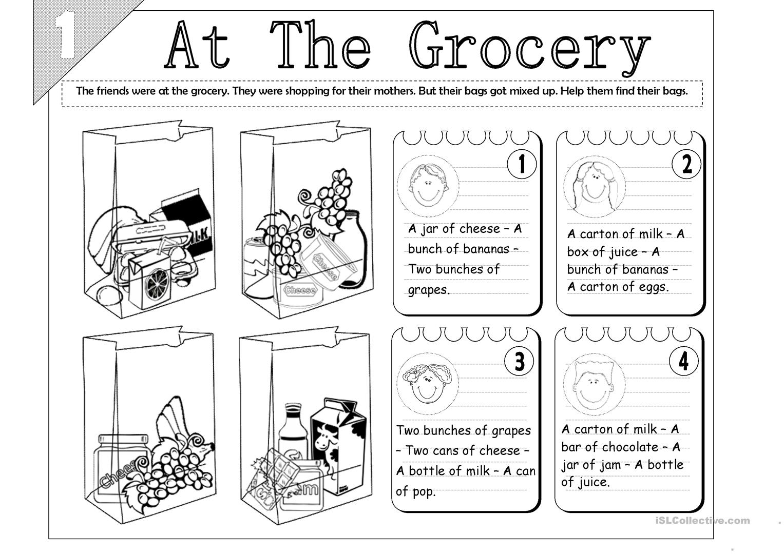 At The Grocery Food Quantity 2 Pages Worksheet