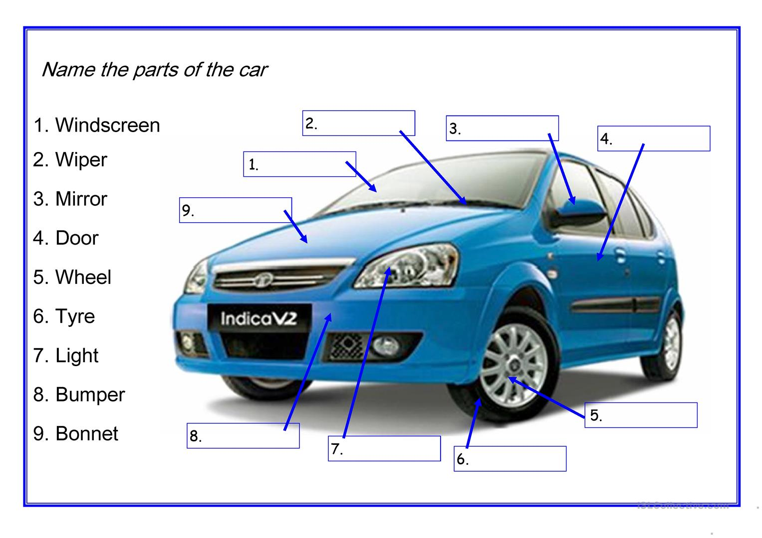Car Parts Worksheet