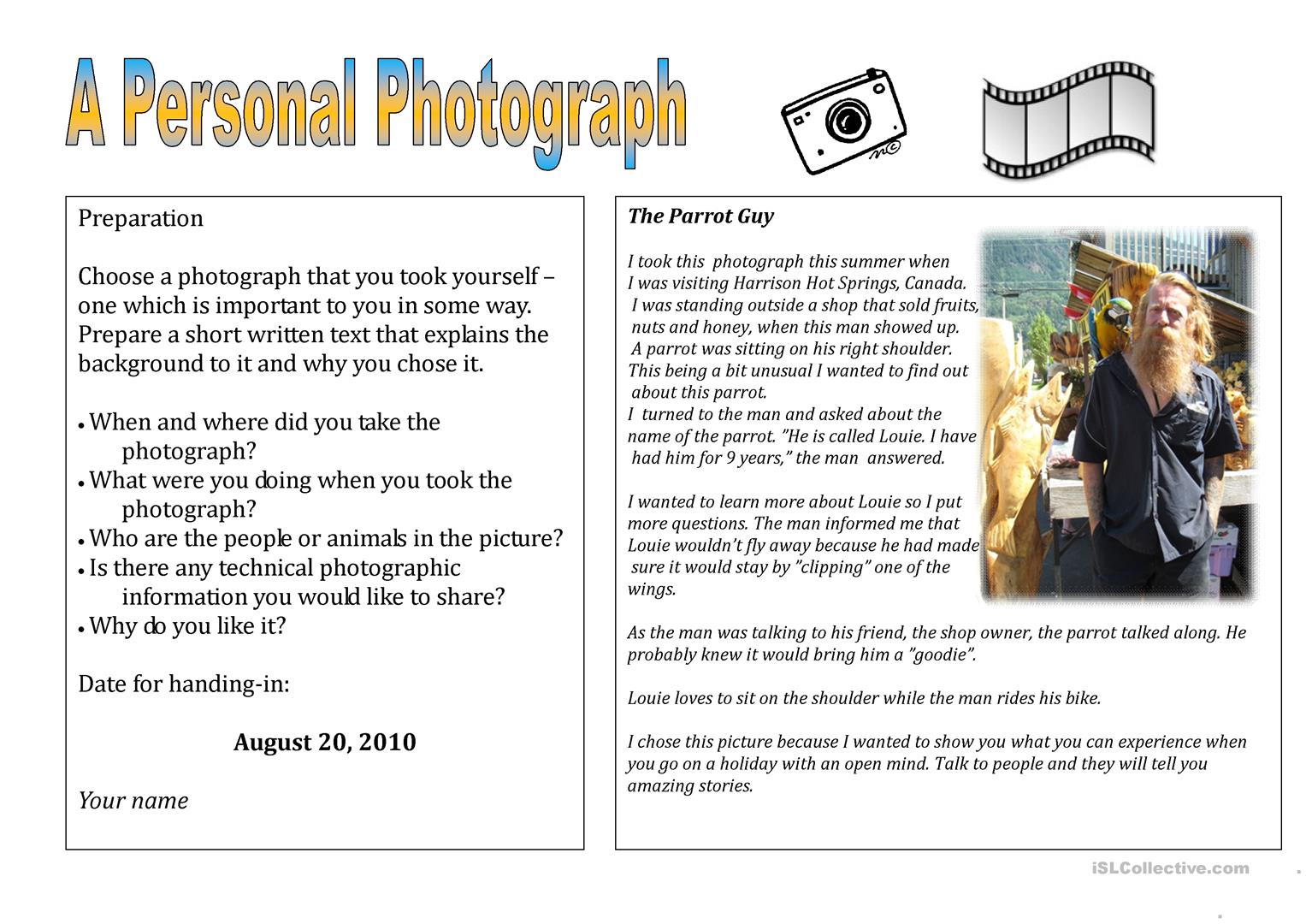 My Personal Photograph Worksheet