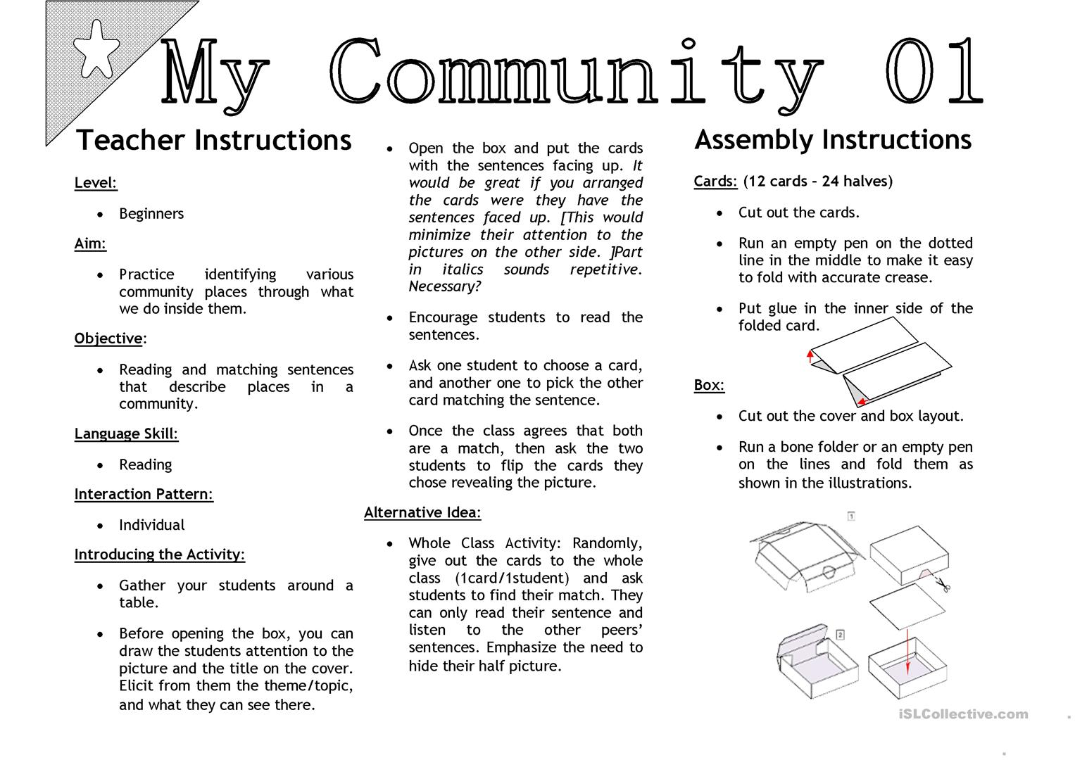 My Community 01 Sentenc Matching Activity Cards