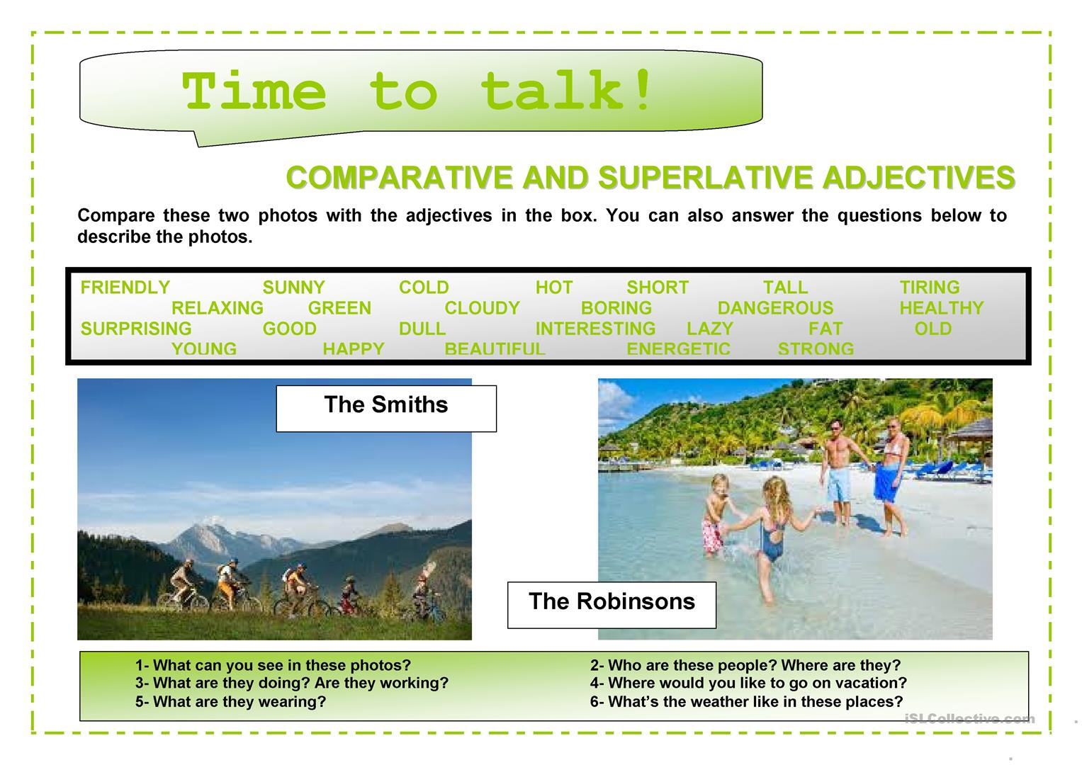 Time To Talk 1 Comparatives And Superlatives Worksheet