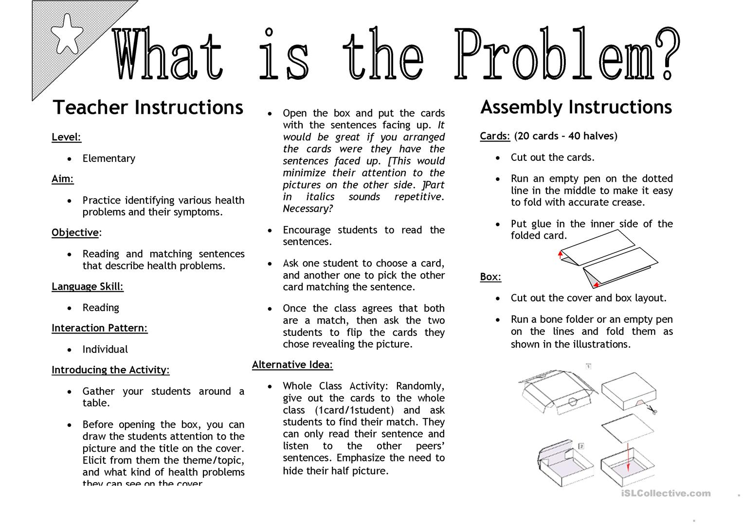 What S The Problem Sentenc Matching Activity Cards