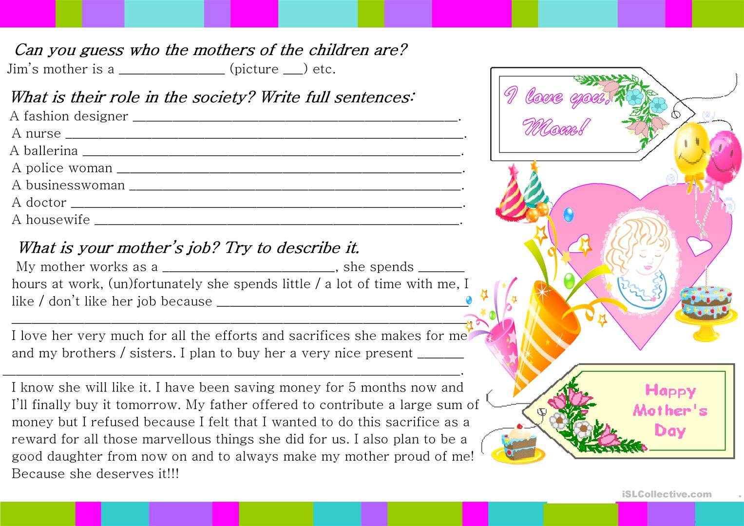Happy Mother S Day Worksheet