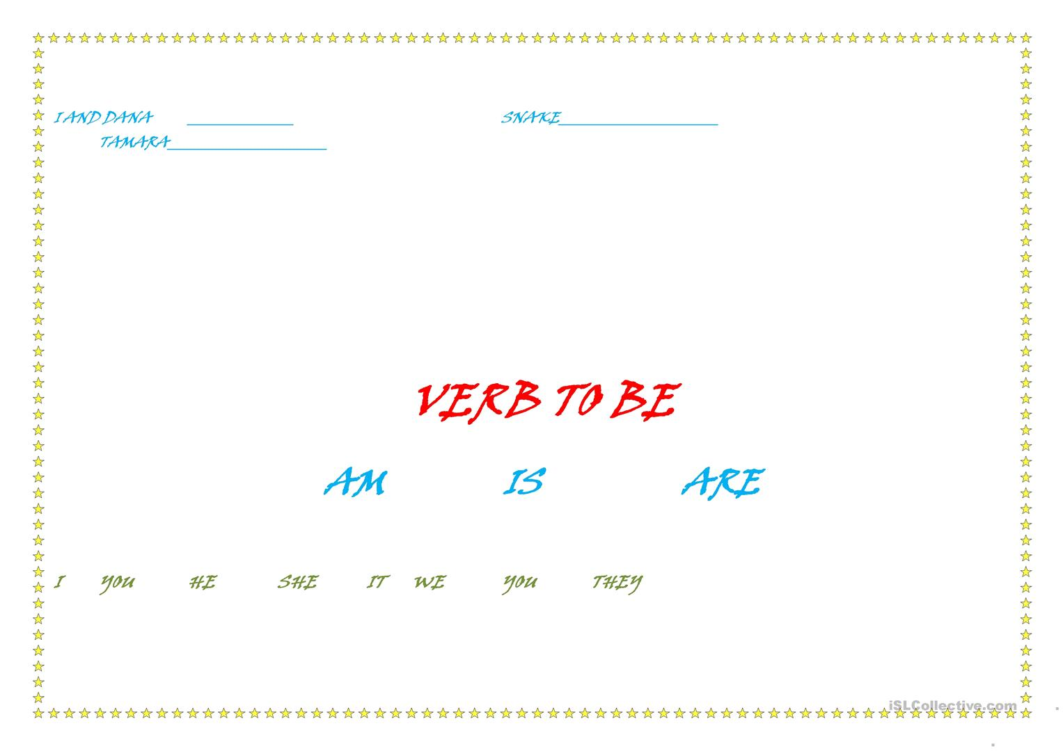 Personal Pronouns Verb To Be Worksheet