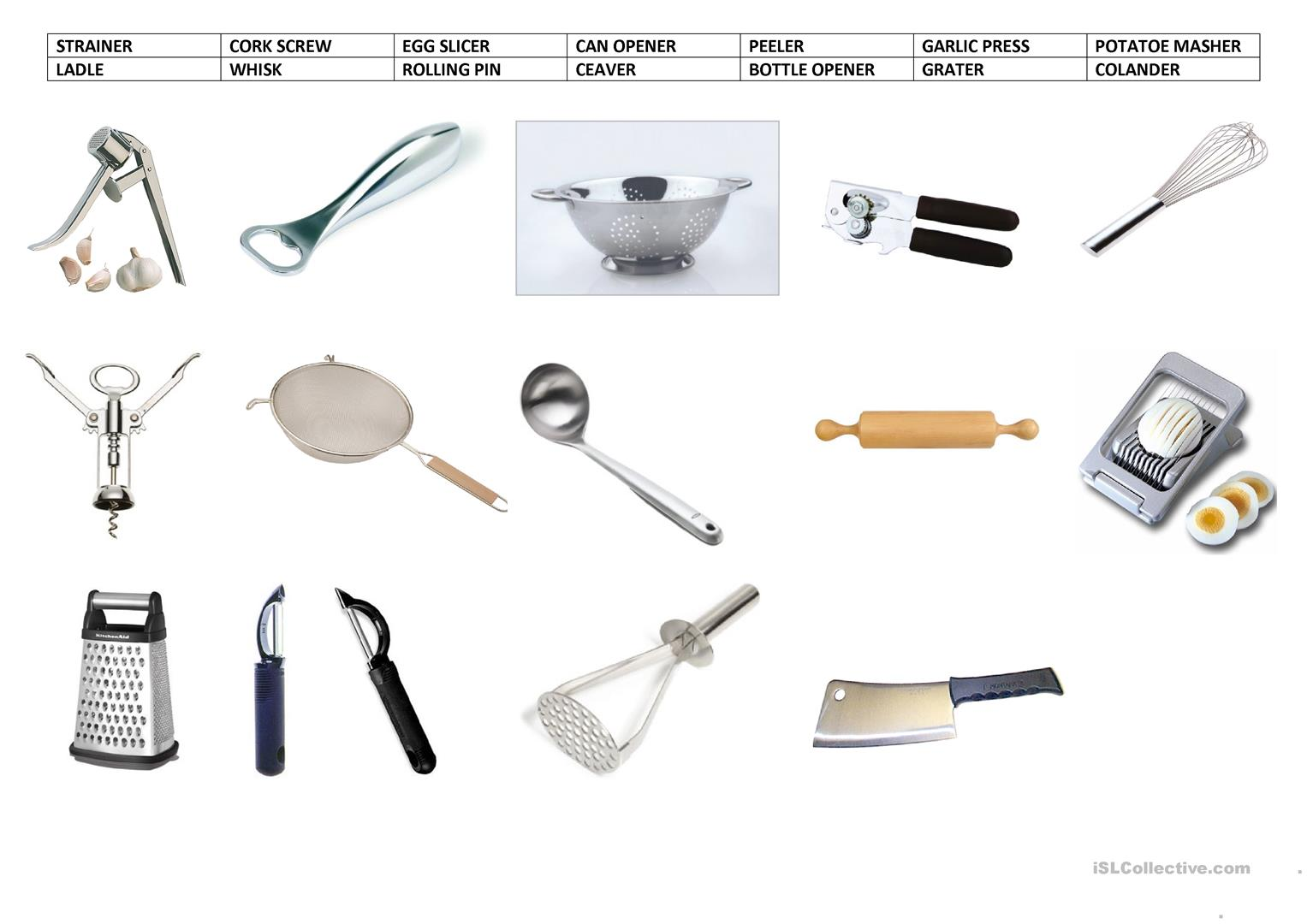 Kitchen Utensils Worksheet