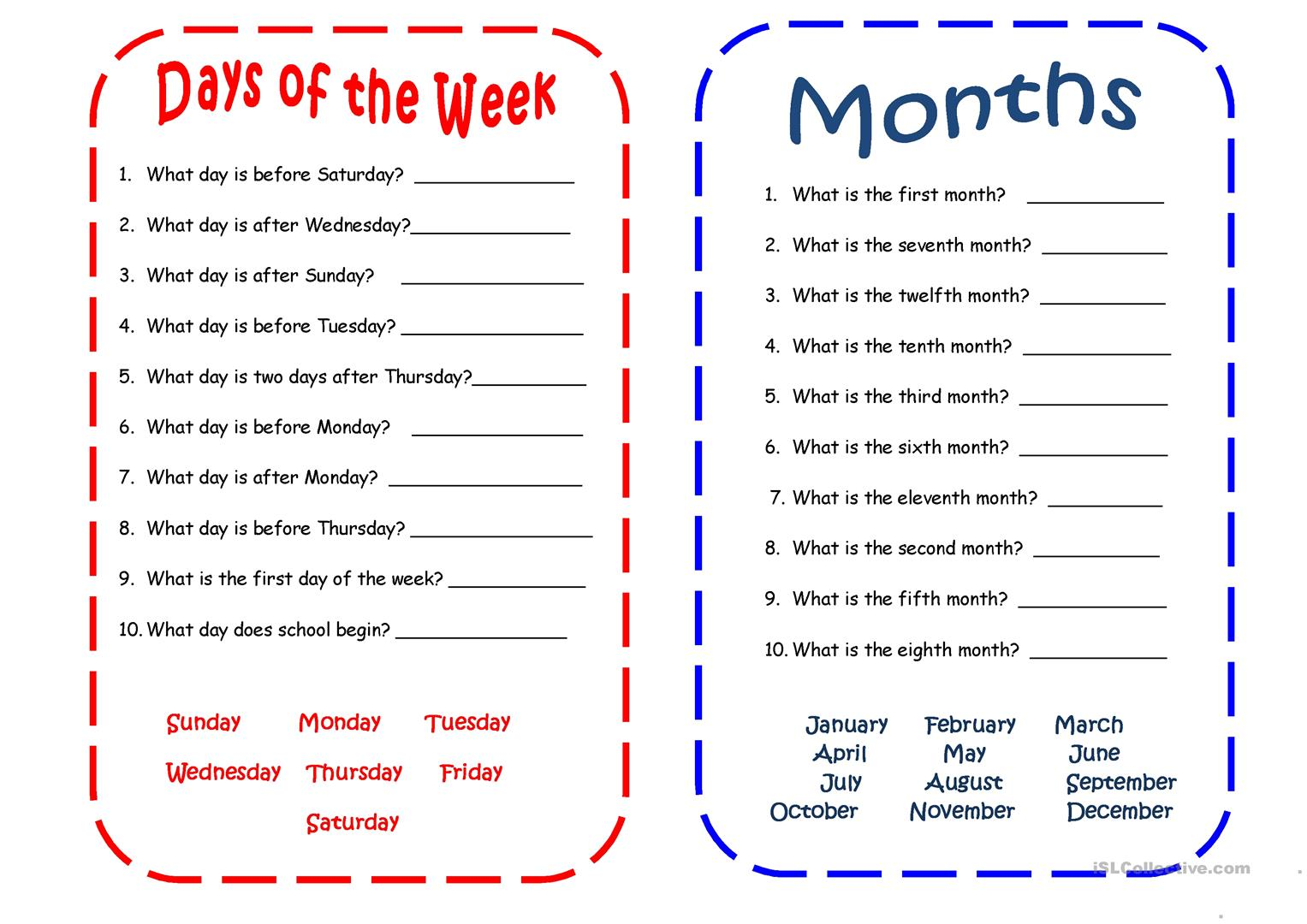 Days And Months Worksheet