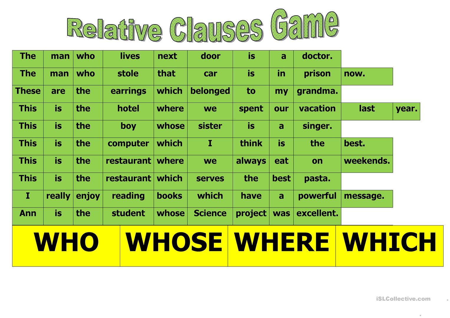 Relative Clause Game Worksheet