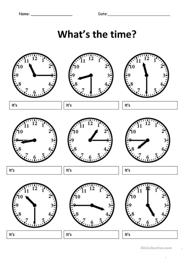 Write the correct time - English ESL Worksheets for distance