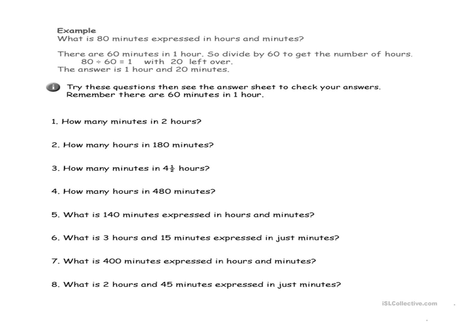 Calculating Time Worksheet