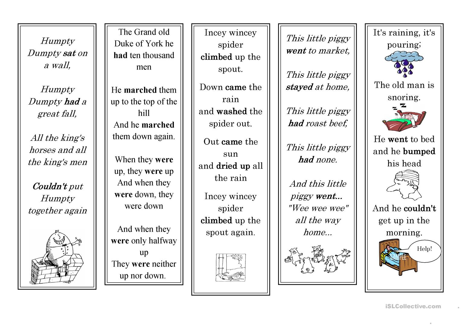 Nursery Rhyme Bookmarks Worksheet