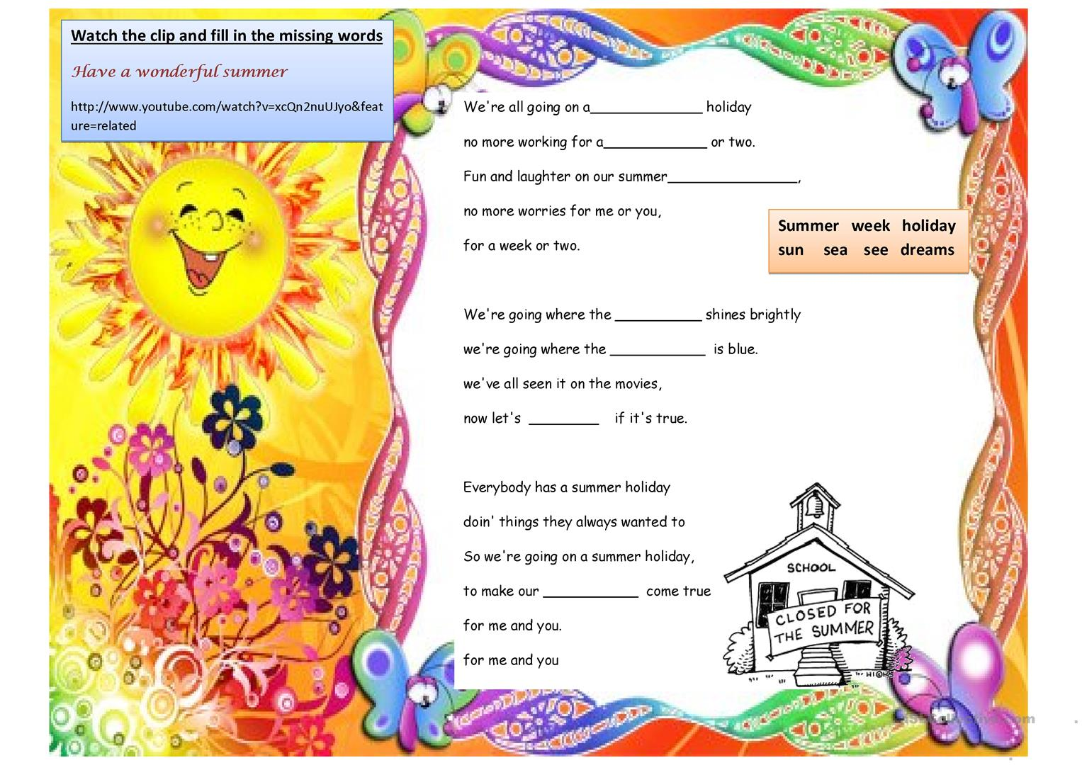 Summer Holiday Song Worksheet