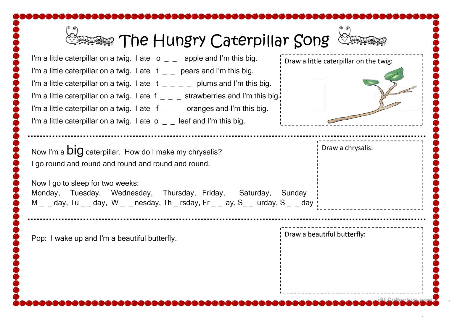 The Hungry Caterpillar Song Worksheet