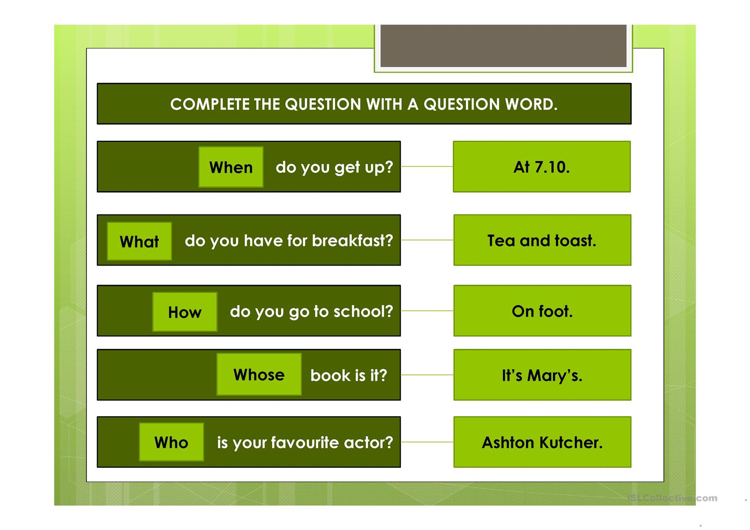 Wh Questions And Yes No Questions Ppt Worksheet