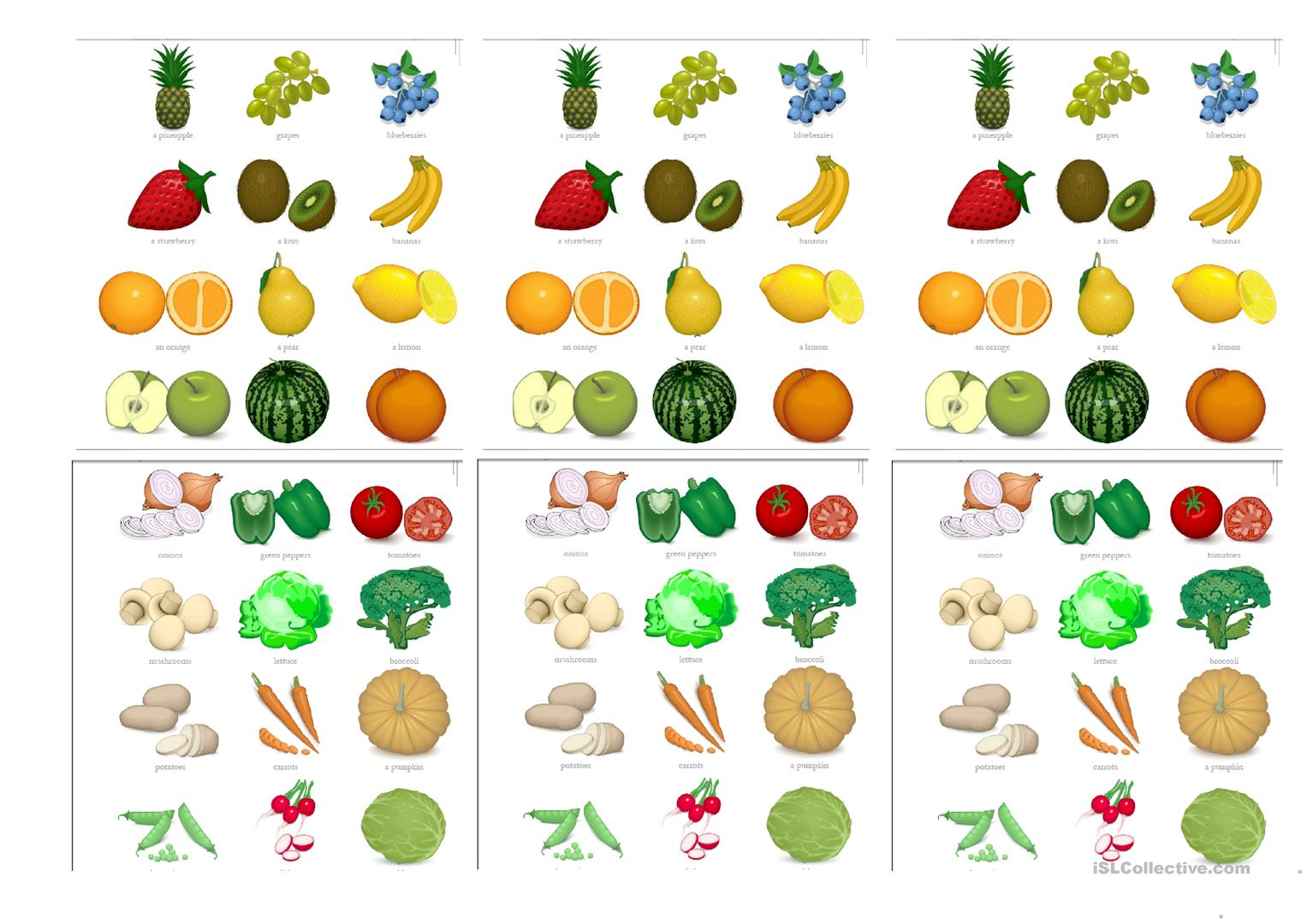Fruit And Veg Card Game Worksheet
