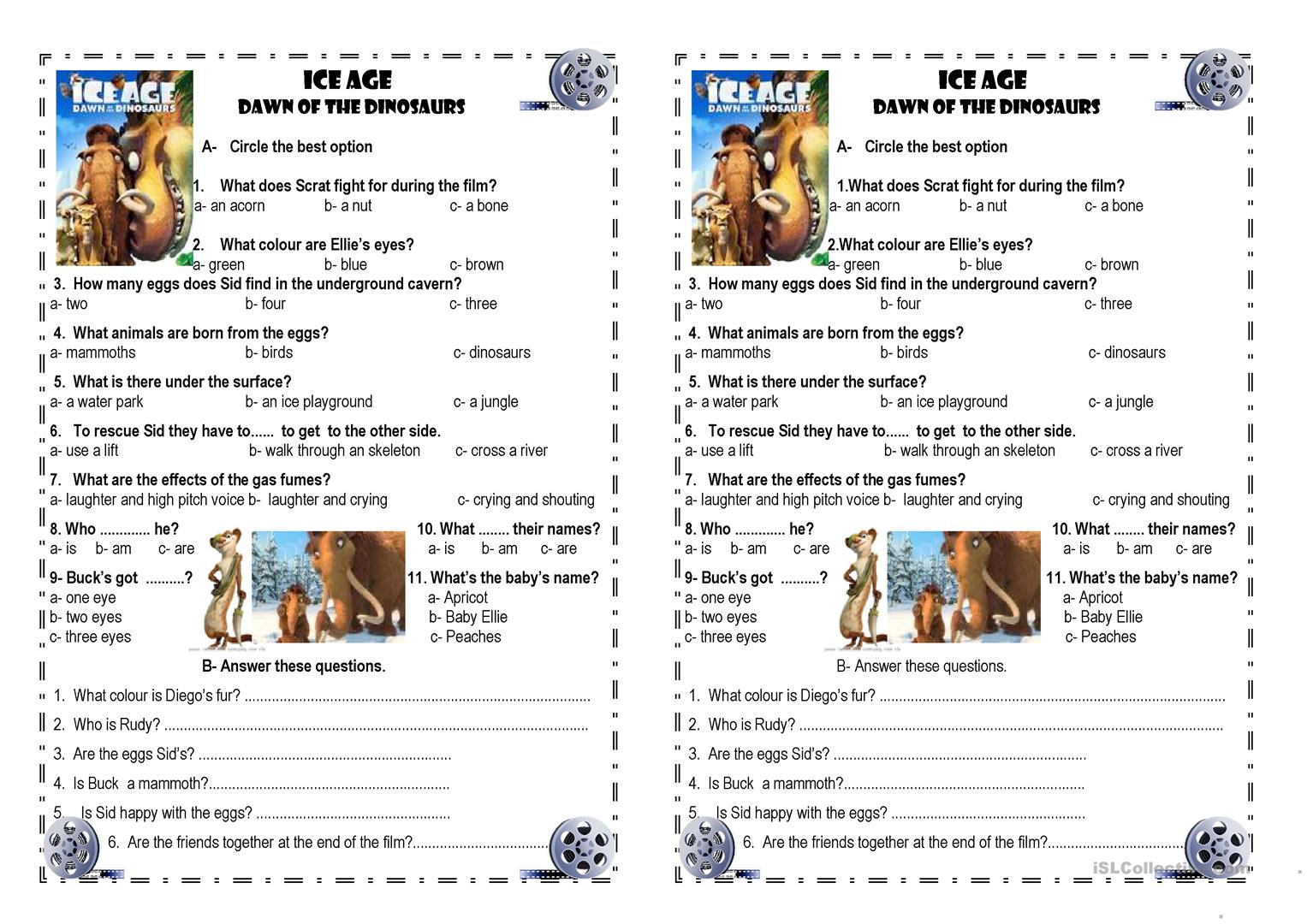 Ice Age 3 Worksheet
