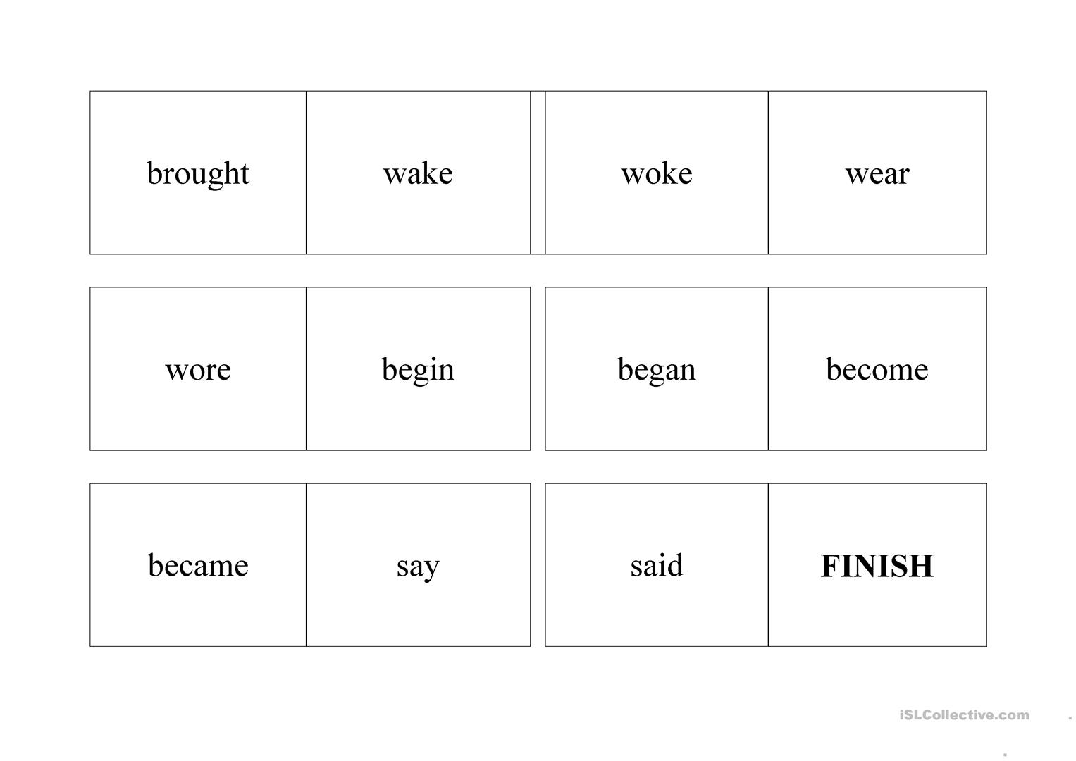 Irregular Verbs Worksheet Elementary