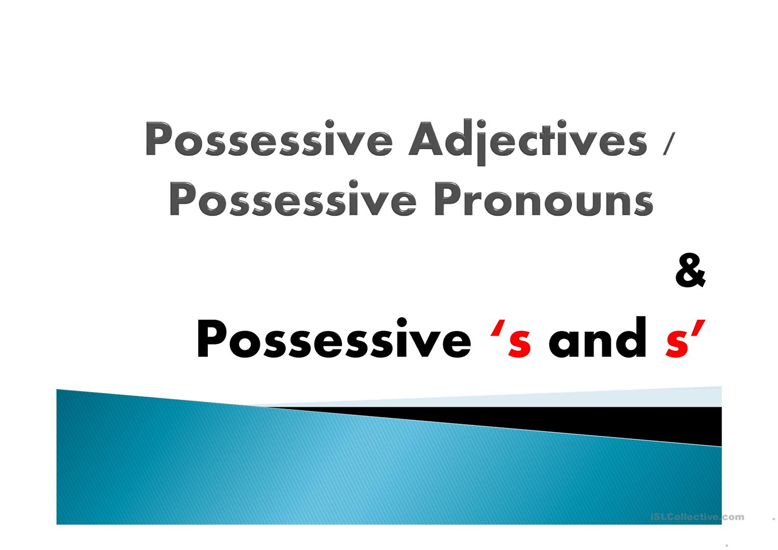 Possessive Pronouns Apostrophe S Worksheet